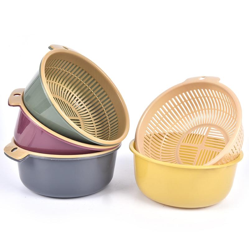 Waschen Lagerung Korb Siebe Küche Doppel Drain Korb Schüssel Schalen Abtropffläche Gemüse Reinigung Sieb Werkzeug