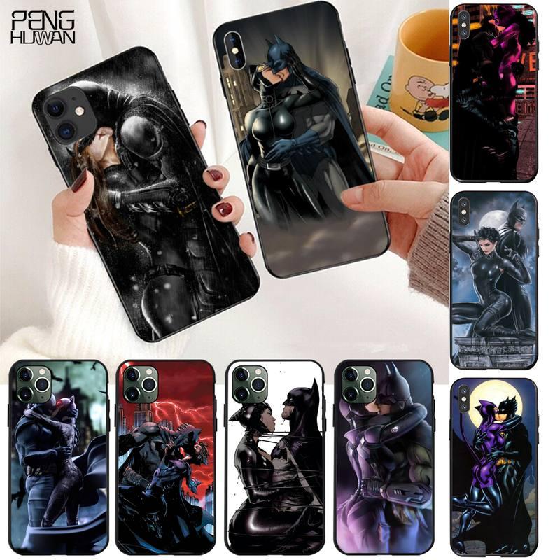 HPCHCJHM, carcasa negra de TPU con Gato de Batman y mujer besando, carcasa para iPhone 11 pro XS MAX 8 7 6 6S Plus X 5S SE 2020 XR