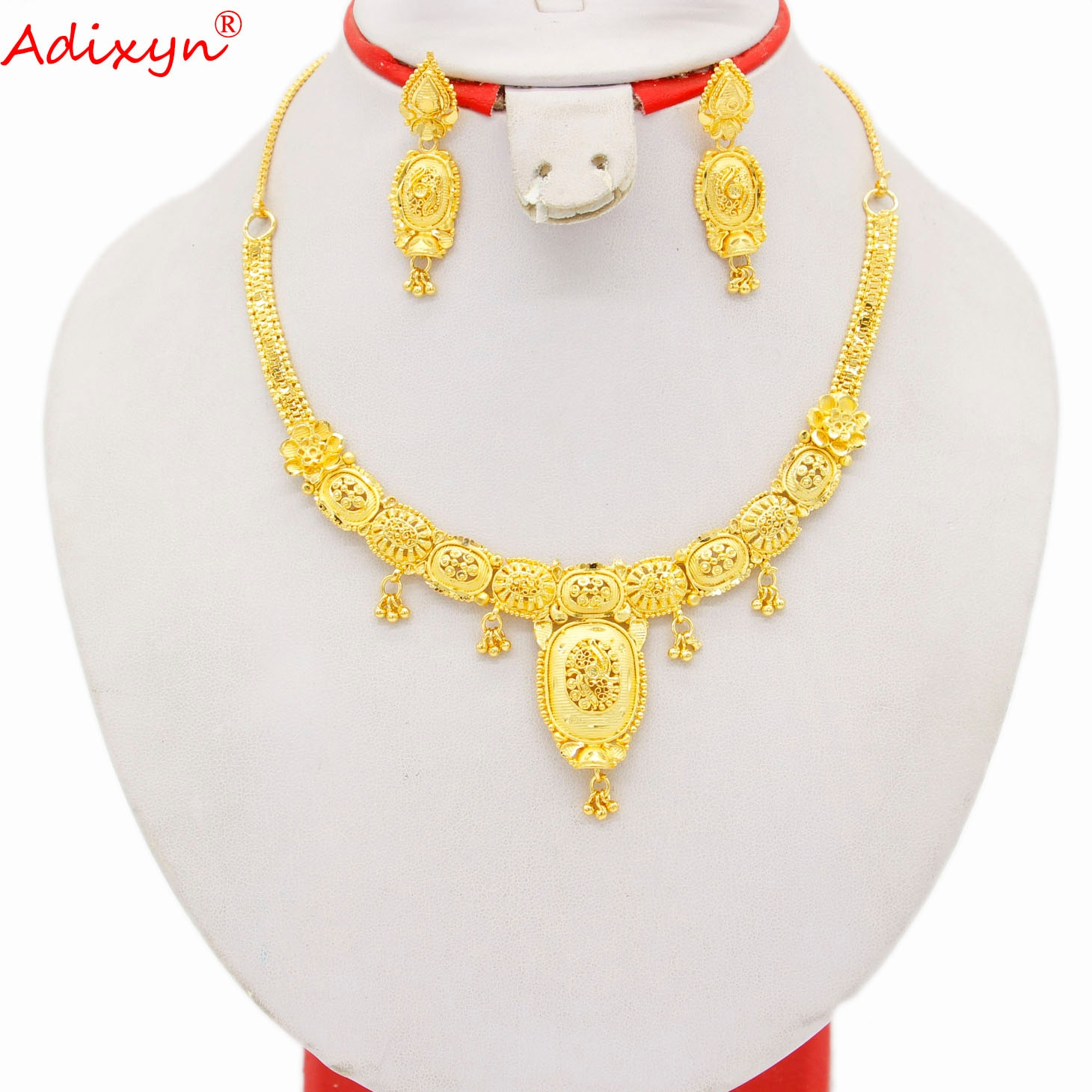 Adixyn دبي الفاخرة 24K الذهب اللون/أقراط نحاسية قلادة طقم مجوهرات للنساء/بنات الاثيوبية مجوهرات حفلة أفريقية هدايا