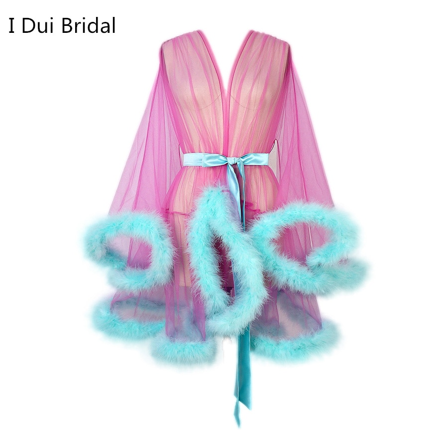 Short Marabou Robes Women Feather Robe Boudoir Sheer Robe Tulle Illusion Birthday Lingerie Women Robe