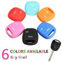 Coque de clé en Silicone à 2 boutons   À rabat, pour TOYOTA Camry Corolla Rav4 Prado /Echo