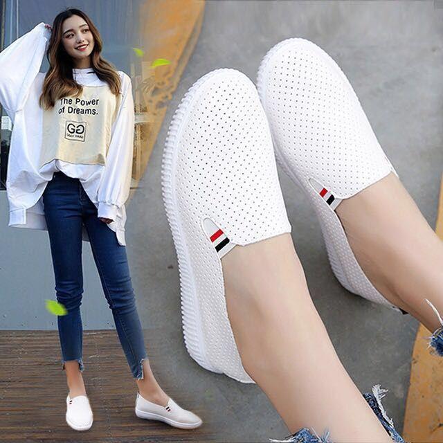Туфли женские из экокожи, кроссовки, без шнуровки, обувь на плоской подошве, с вырезами, повседневные эспадрильи, белые