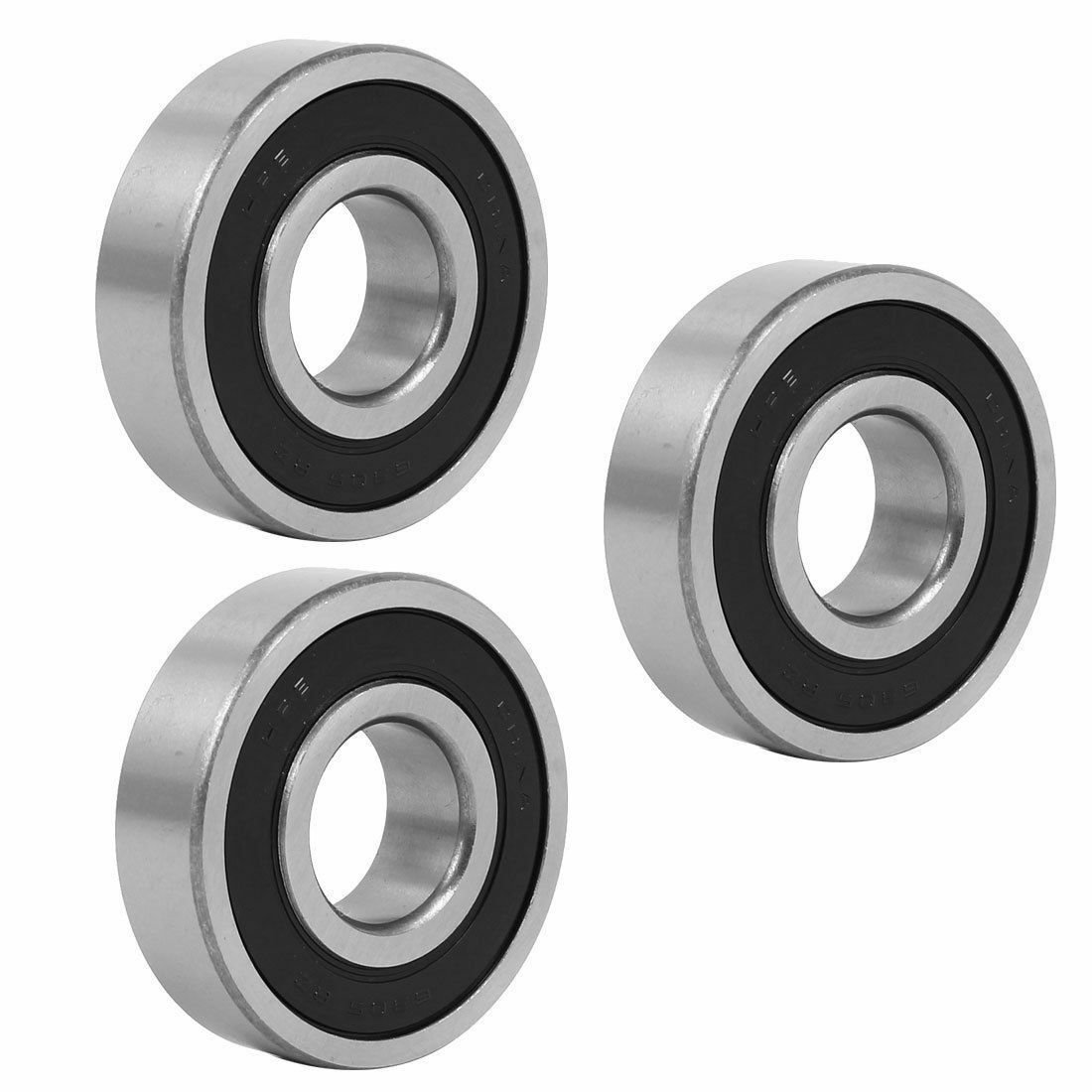 25x62mmx17mm Sealed Deep Groove Rolling Ball Bearings 6305RZ 3pcs.
