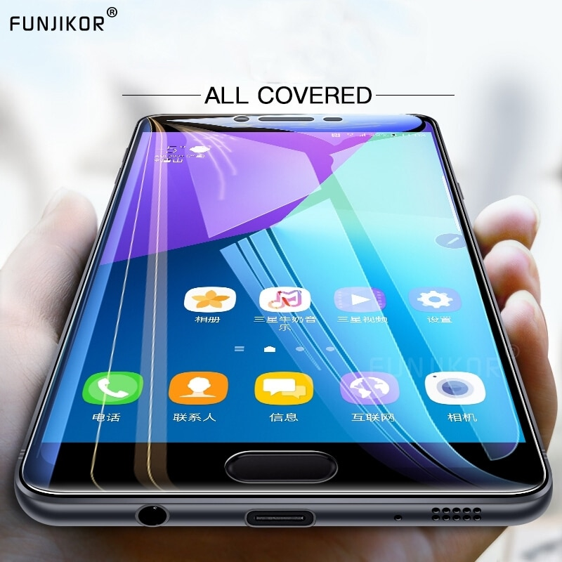 Cubierta protectora de vidrio templado para Samsung Galaxy J4 Plus J6 J8 2018 A6 A8 A9 A7 2018 A5 2017 Protector de pantalla de Gel película de vidrio