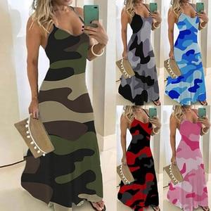 Long Dress Women's Camouflage Print Long Suspender Dress Ladies Plus Size Camouflage Sleeveless V-collar Dress Maxi Dresses
