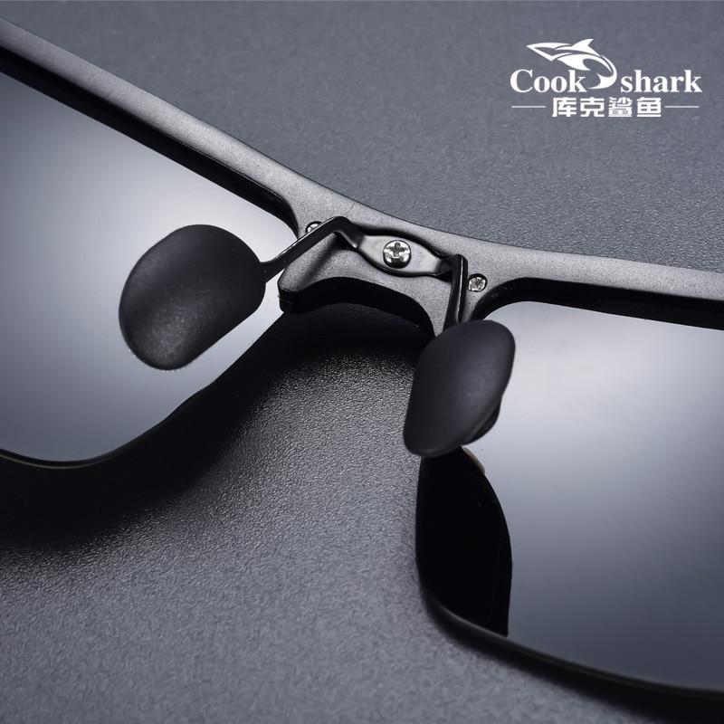 Cook Shark's new aluminum magnesium sunglasses men's sunglasses HD polarized driving drivers color glasses tide