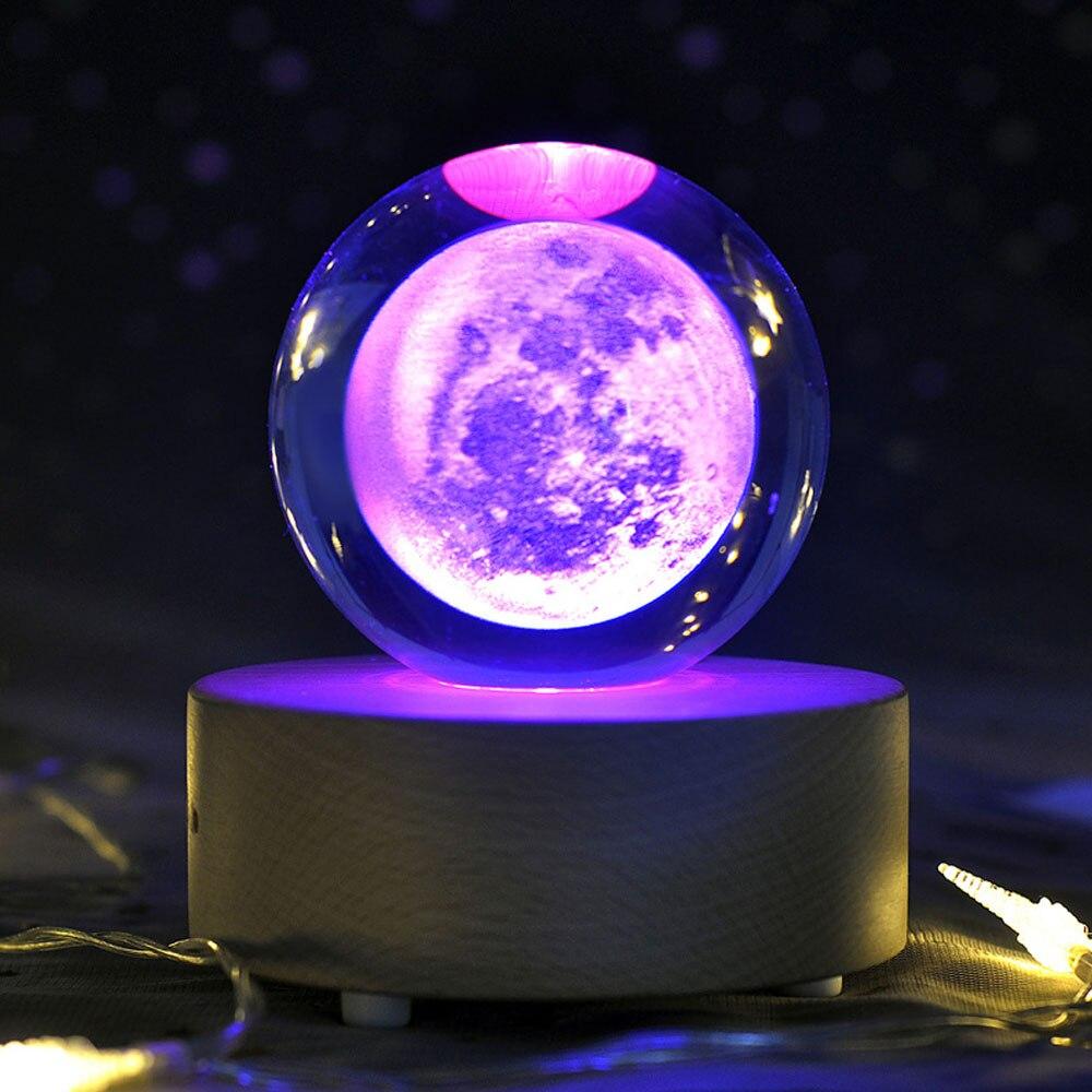 3d lua bola de cristal luz da noite globo gravado galáxia sistema solar novidade luz planetário bola lâmpada led colorido iluminar