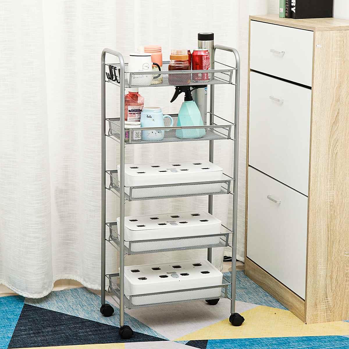 Estante de piso con carrito para cocina y baño, 3/4/5 capas, estante de almacenamiento extraíble, ahorro de espacio, estante para almacenar móvil, organizador con ruedas