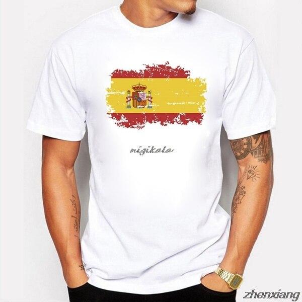 Футболки BLWHsA с национальным флагом Испании для мужчин, модные ностальгические футболки с коротким рукавом для фанатов Испании, летние игры