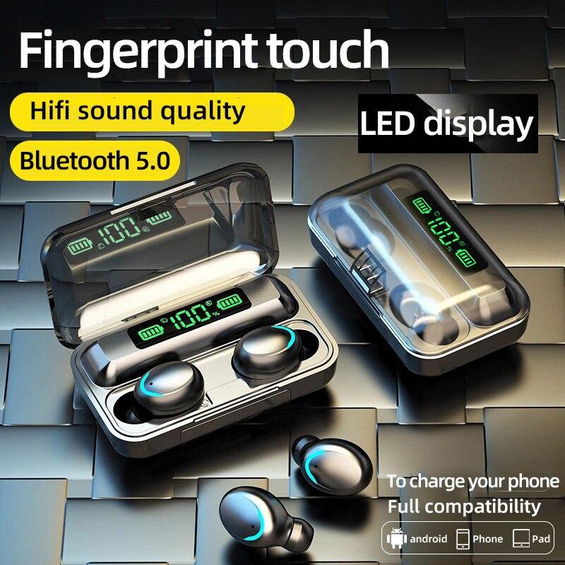 Auriculares TWS con Bluetooth 5,0, cascos inalámbricos con caja de carga, estéreo...