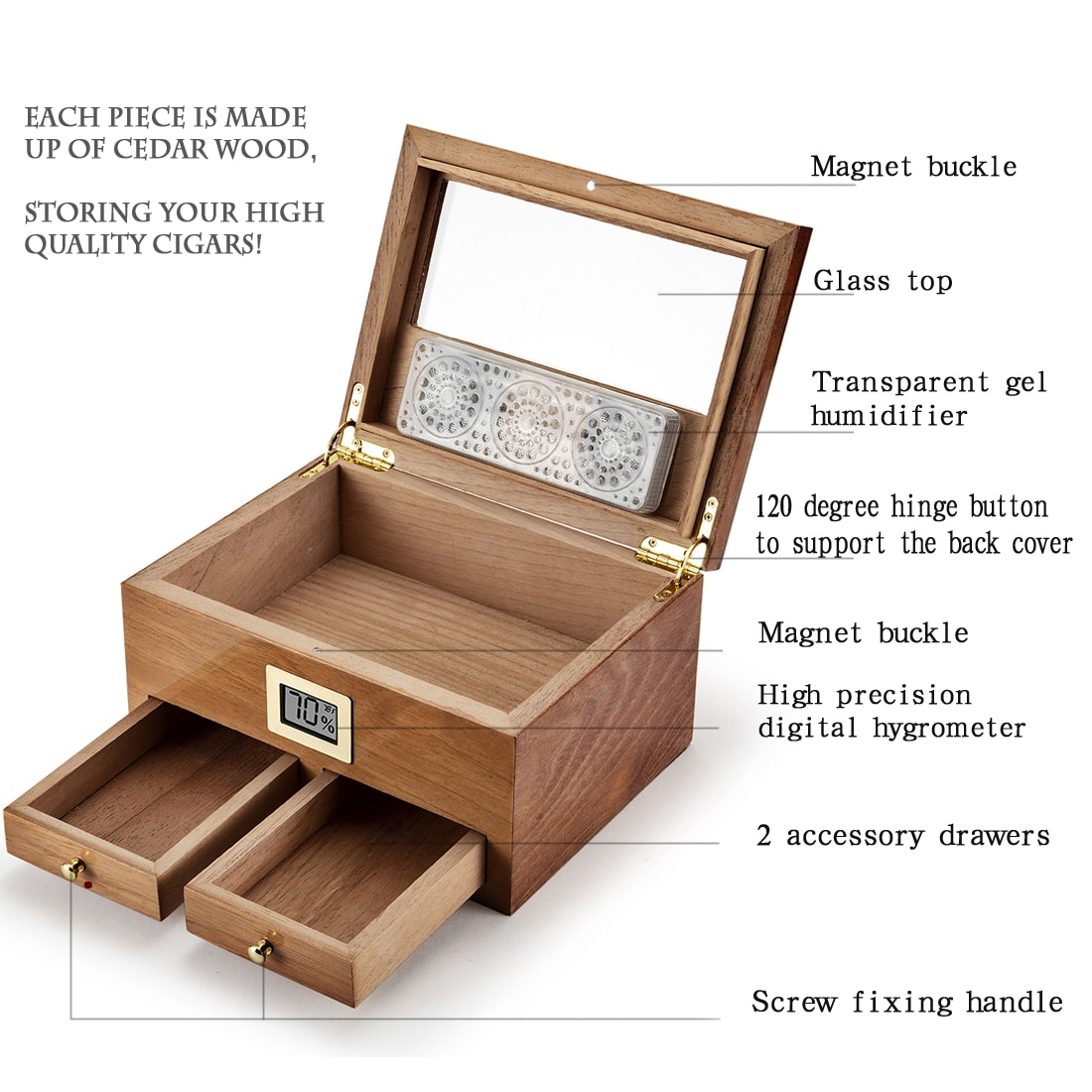 Cedar Wood Cigar Humidor W/Hygrometer Humidifier 2 Drawers Travel Cigarette Storage Box Portable Cabinet Smoking Case For Cohiba enlarge