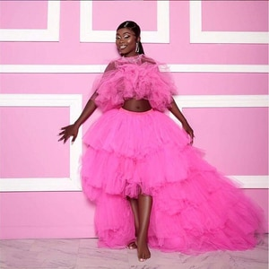 2 Pieces Evening Party Dress Puffy abiye gece elbisesi vestido de festa Pageant Gown Hi Low Photo Shoot Hot Pink Evening Dresses