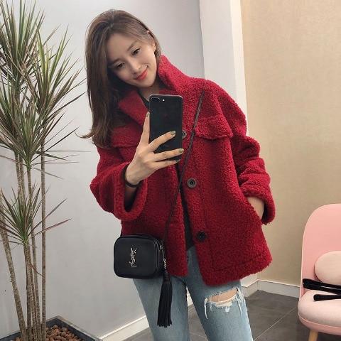 Woman Short Lamb Fur Jacket Wool Thick Coat Fashion Harajuku Jacket Female Korean Loose Spring Autumn New Bf Student Jacket