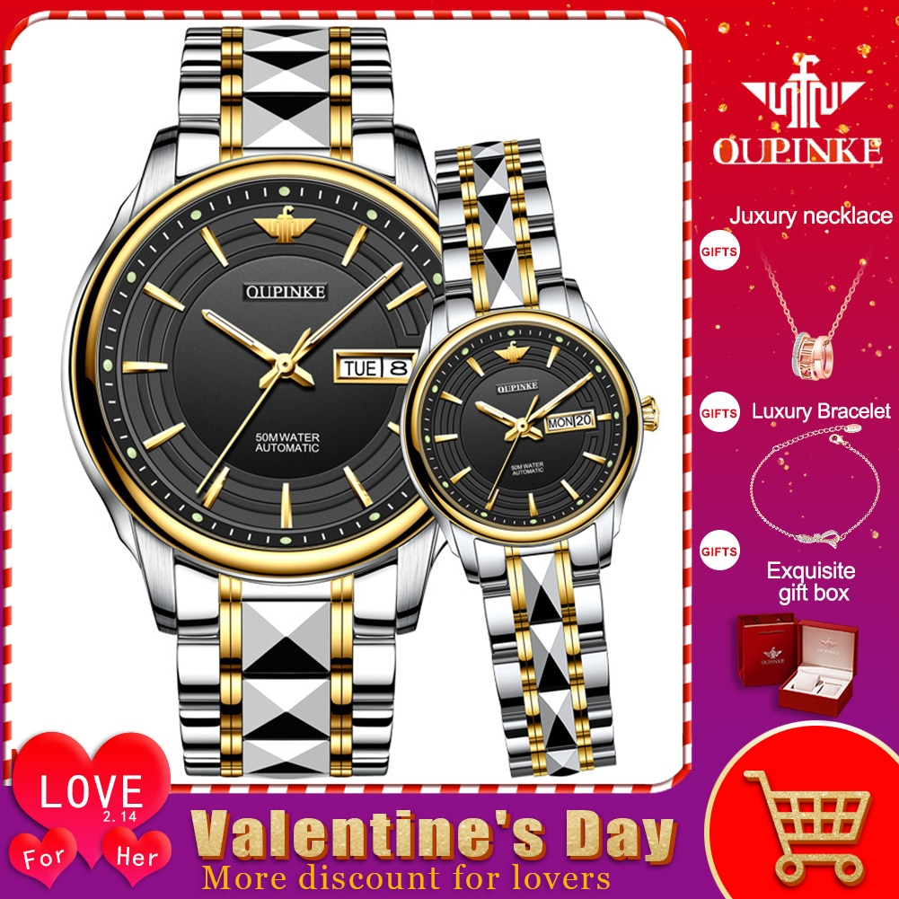 OUPINKE Top Luxury Brand Couple Automatic Mechanical Watch Waterproof Stainless Steel Watchstrap Lady And Male Wristwatch