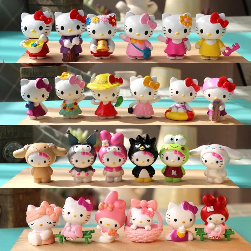 Muñeca de caja ciega de Hello Kitty KT con corazón de gato para niña de color rosa suave, decoración de escritorio, pequeños adornos, regalos de juguetes para niñas