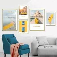 Affiche et imprimes de femmes a la mode  toile de paysage de soleil jaune  peintures murales nordiques  images dart pour la decoration de la maison