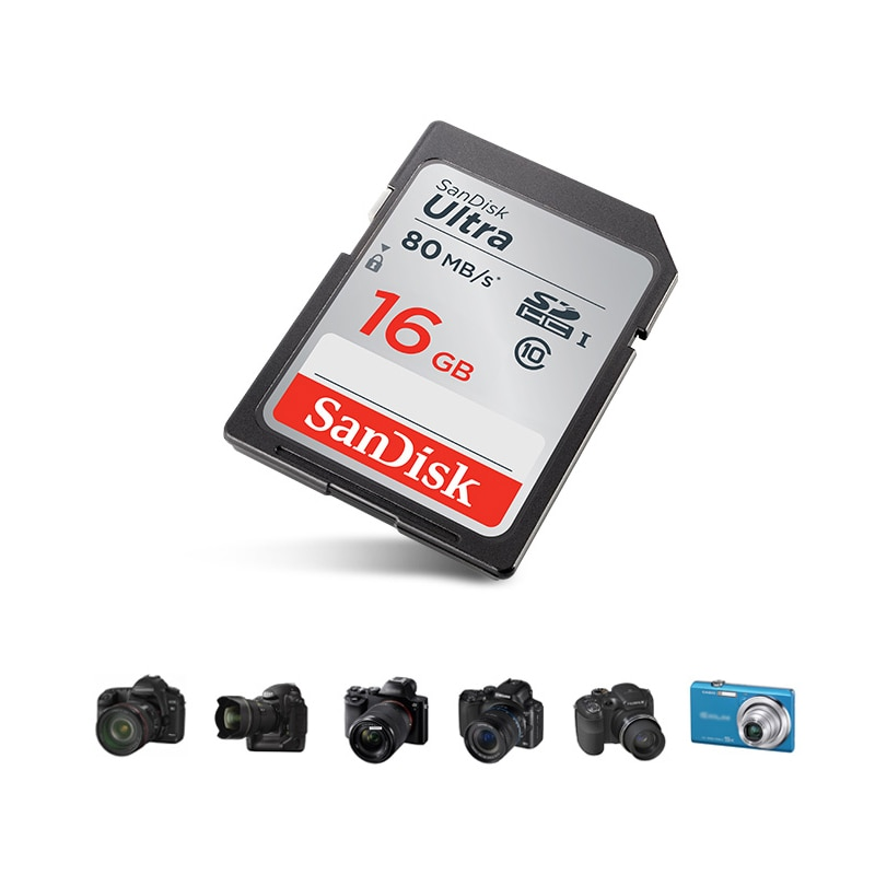 Original SanDisk SD Card Memory Card Ultra Class10 SD Card C10 UHS-I 80MB/s Read Speed for Camera Camcorder 16GB 32GB 64GB 128GB