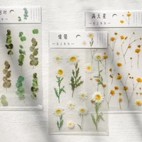 one sheet 12 designs natural daisy clover japanese words stickers transparent pet material flowers leaves plants decor stickers