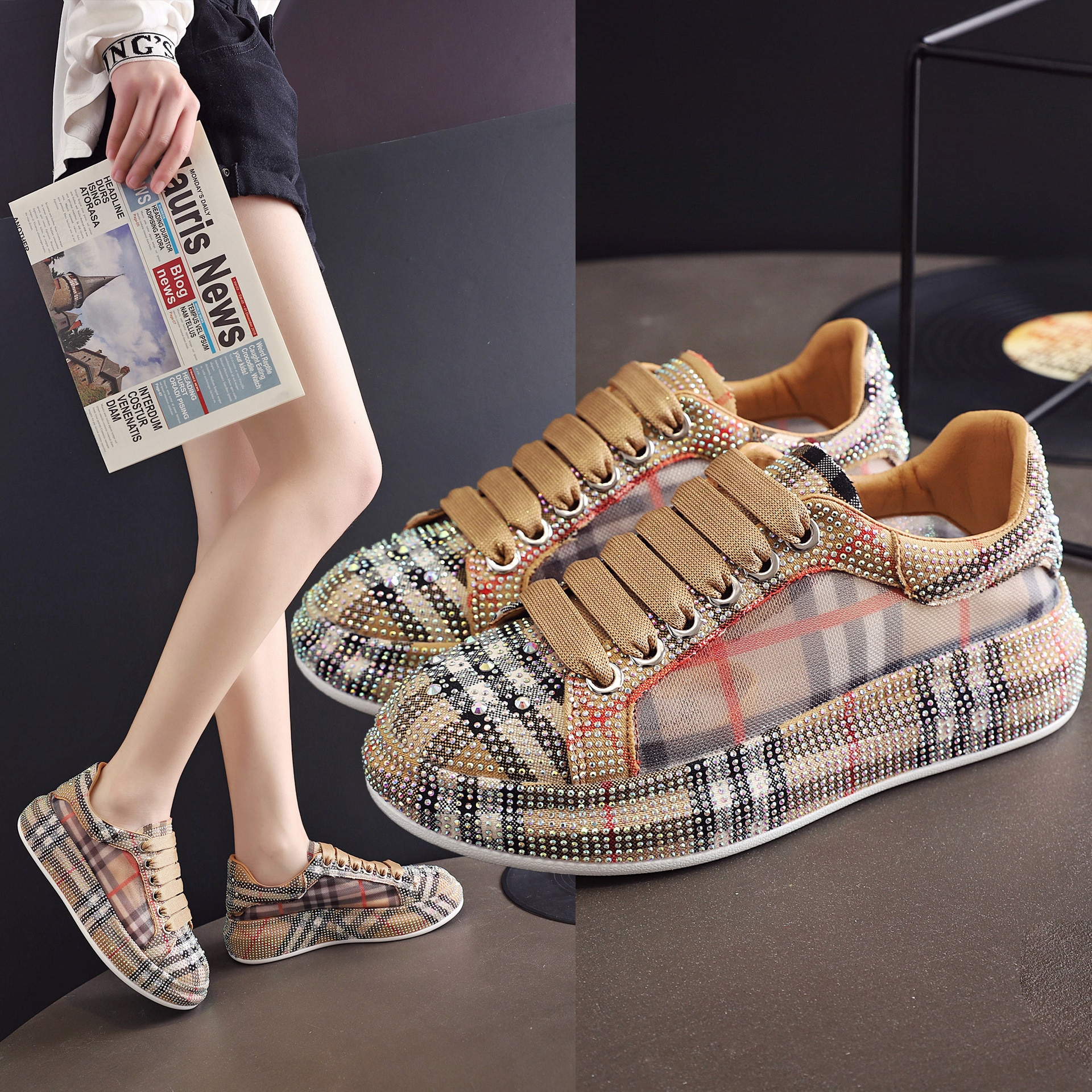 Rhinestone breathable mesh low-cut lace-up casual shoes women 2021 new all-match white shoes sneaker
