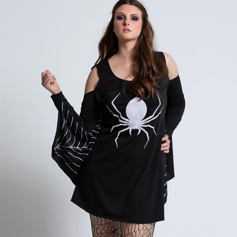 Vestido estampado de Halloween vestido de manga larga araña impresa vestido de rendimiento vestido recortado de manga de murciélago