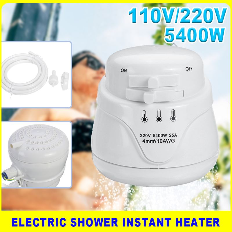 سخان مياه كهربائي فوري ، 5400 واط ، 110 فولت/220 فولت ، ترموستات بدون خزان ، 3 سرعات ، تدفئة سريعة ، دش حمام