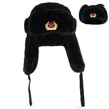 Sovjet Militaire Badge Rusland Ushanka Bomber hat Faux Konijnenbont Oorklep Sneeuw Caps hoed warm sk