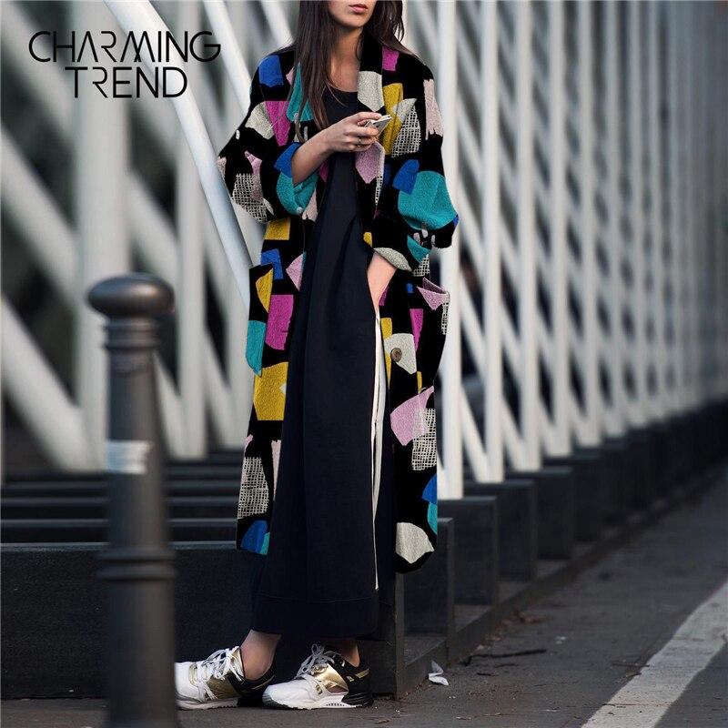Manteau en laine pour femmes couture colorée revers à manches longues après fendu 2020 printemps et hiver mode chic col en v manteau pour les femmes