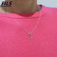 new simple a z 26 letters pendant necklaces for women stainless steel hollow fashion design choker necklace jewelry party gifts