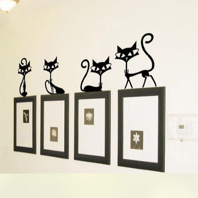 Precioso 4 negro lindo adhesivo de gato para pared modernos adhesivos de gato para pared chicas de vinilo decoración de gato lindo habitación de los niños