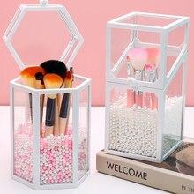 Porte-stylo vide en plastique   Conteneur clair hexagone Transparent en plastique, vide porte-stylo brosse de maquillage organisateur cosmétique livraison directe