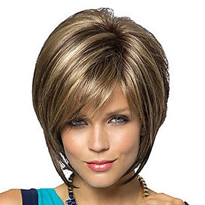 caprichoso w mulheres curto perucas straigh moda natural loira marrom misturado cabelo