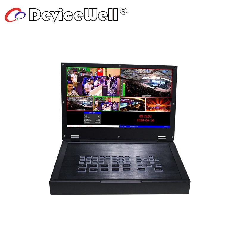 DeviceWell HDS 9125 HDS9125-محول شاشة 5 قنوات ، شاشة LCD ، بث مباشر ، 4 HDMI ، 1 DP ، إدخال فيديو محمول