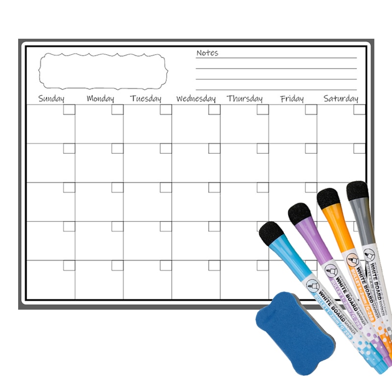 Magnetic Weekly Monthly Planner Calendar Sticker Refrigerator Magnet Erasable Markers Whiteboard Notes Message Drawing Schedule