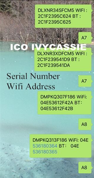 For iPad iCloud Unlock Serial NO. SN A6 A7 A8 A9 A10 For iPad 2/3/4/5/6/Air1/Air2/mini1/mini2/mini3 Serial Number Wifi Address