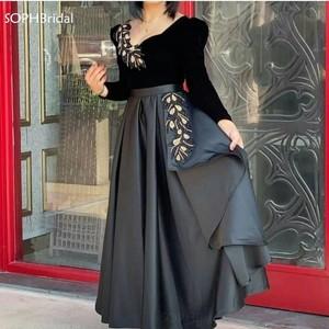 New Arrival Robe de Soirée 2021 Satin V Neck Long Sleeve Evening Dresses  Velvet Black Evening Gowns Formelle Robes Avondjurken