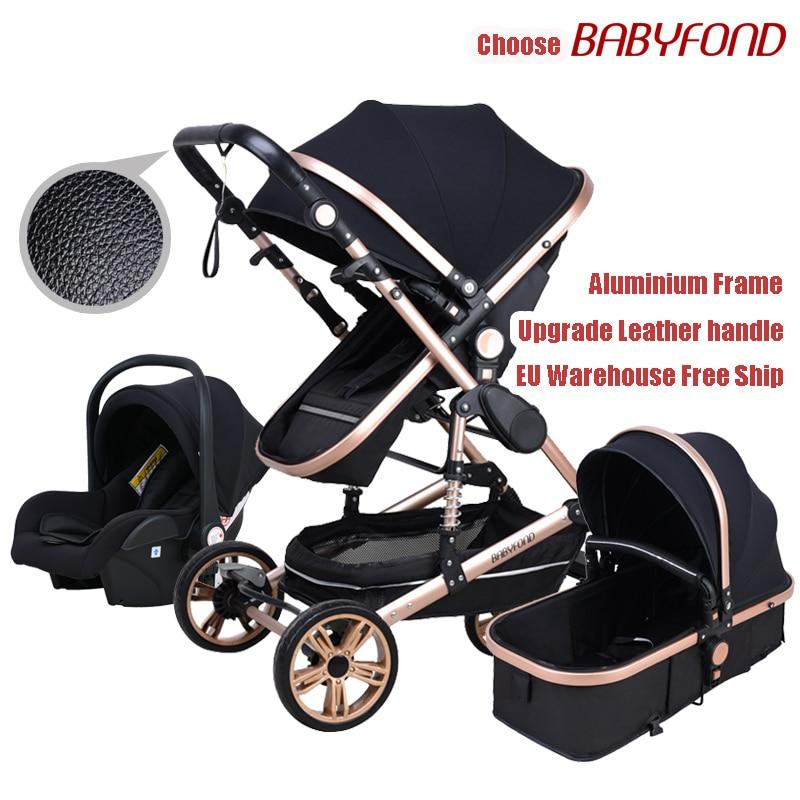 Babyfond Baby Stroller High Landscape Baby Cart  3 In 1 Baby Pram   With Car Seat 2 In 1 Baby Stroller CE Safety