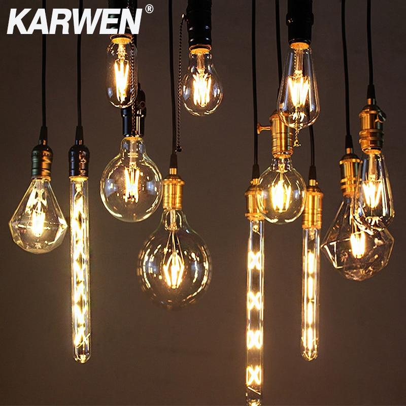 Винтажная Светодиодная лампа накаливания E27 E14 в стиле ретро, светильник в, 8 Вт, 6 Вт, 4 Вт, 2 Вт