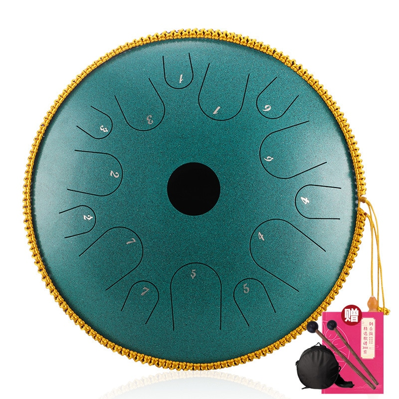 Hluru A Copper  Stee 14 notes 14 inch c tones Ethereal Saucer Empty Hollow Tongue drum Percussion tambourine Instrument handpan enlarge