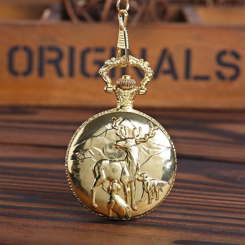 1038 tres alces madre e hijo reloj de bolsillo lindo ciervo beber leche clásico bolsillo reloj vintage grande cadena gruesa alivio