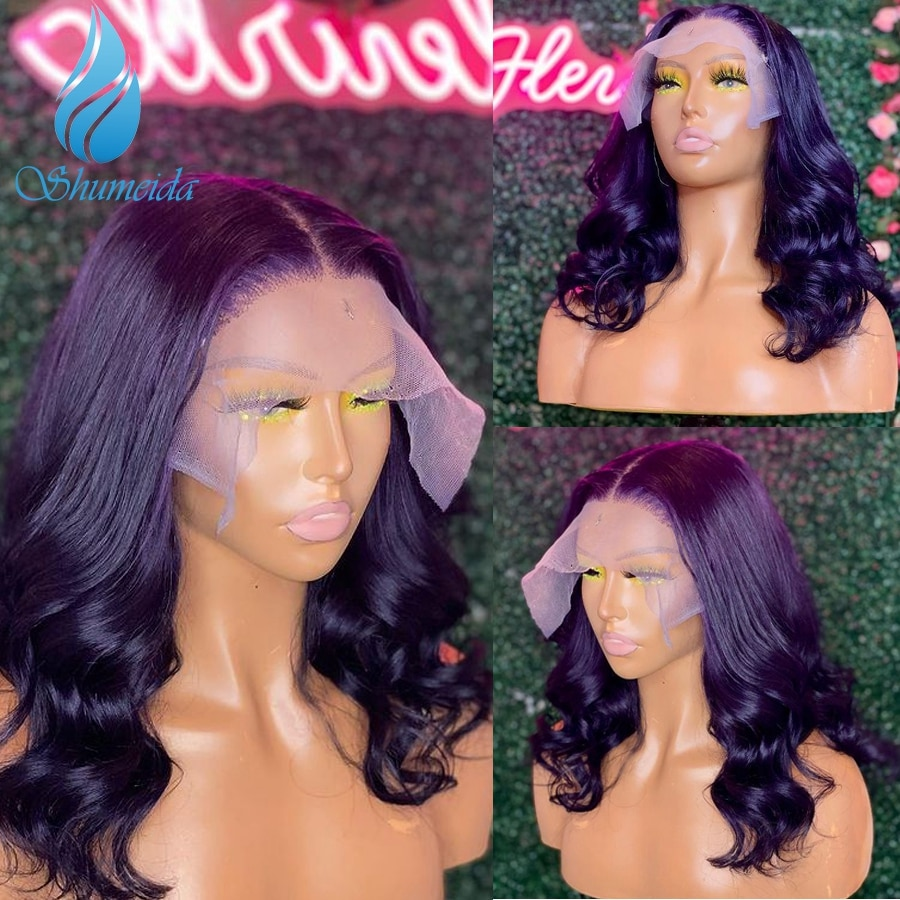 Shumeida Purple Color 13*4 Lace Front Wigs with Baby Hair Peruvian Remy Human Hair 4*4 Wigs for Black Women Gluless Pre Plucked