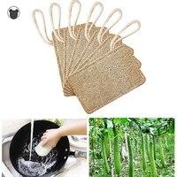 5pcs natural loofah luffa sponge dish cleaning brush scrubber kitchenware cleaner dishwashing loofahs scrub pad kitchen tool