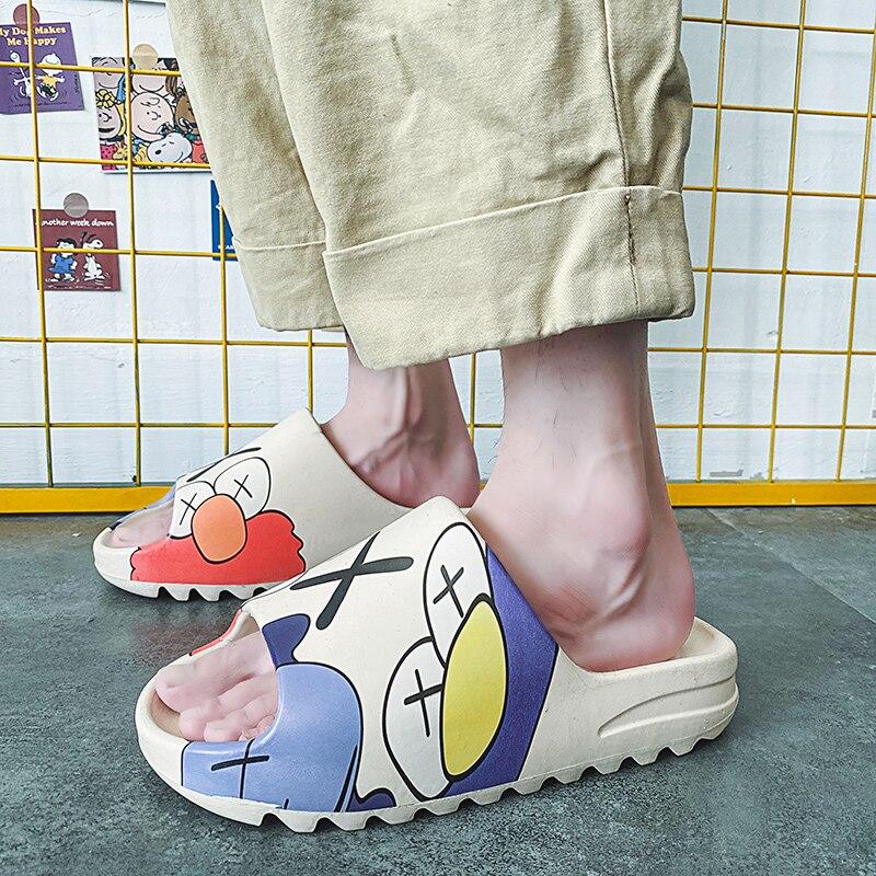 Amantes de Coco Luz de Luxo da Marca Eva dos Desenhos Slides Sapatos Masculinos Indoor Graffiti Lazer Praia Chinelos Animados Zapato 2021