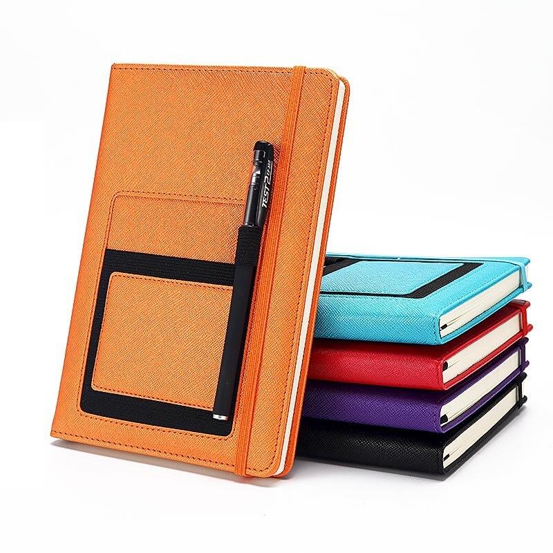 A5 cuaderno de bolsillo de negocios Bloc de notas diario de reunión planificador de diario libro de oficina cuaderno de lechería de cuero suministros escolares para estudiantes