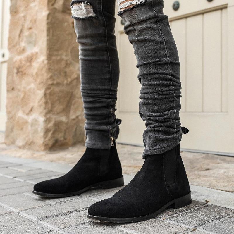Botas De ante antideslizantes para Hombre, botines De Seguridad, color negro, vaquero,...