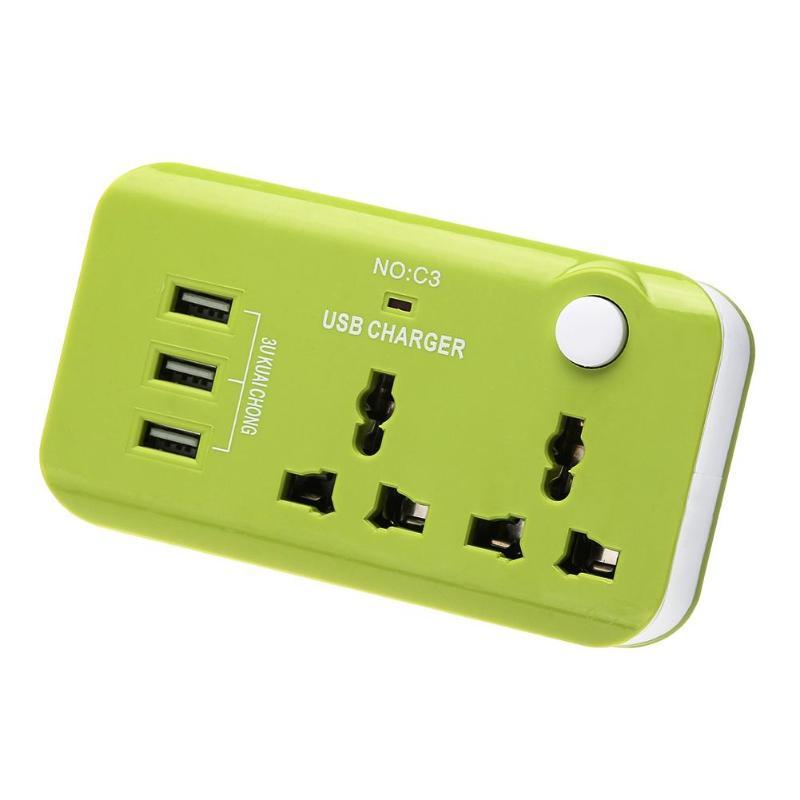5V 10A Reino Unido Plug 3 puerto USB de carga rápida cargador de adaptador Universal de muelle de alimentación de convertidor de viaje AC 110-250V