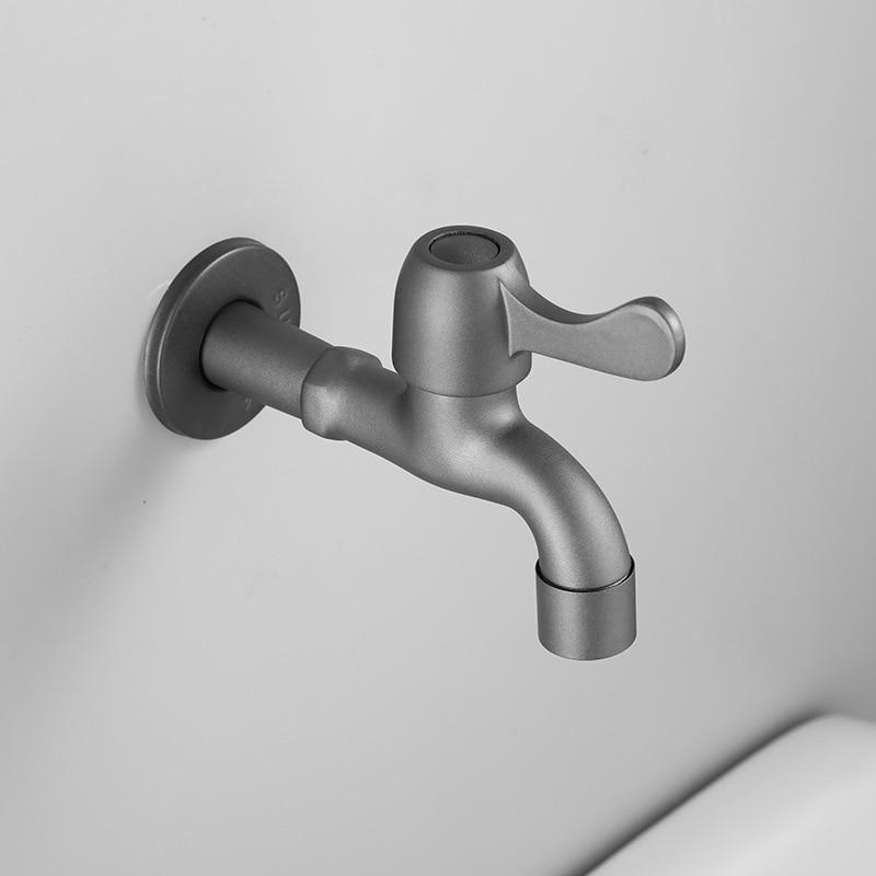 Mezclador de jardín negro gris mate grifo de lavadora de pared baño fregona grifo de Solo Frío de baño grifo de grifo
