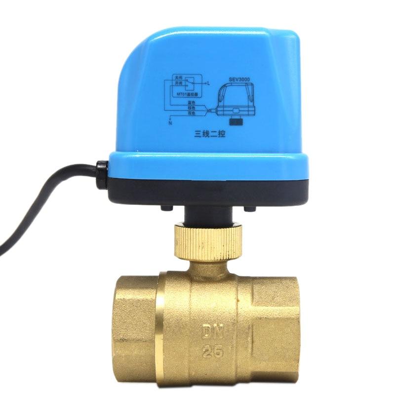 24V Dn15 válvula eléctrica de dos vías de tres cables de dos cables de Control de un solo Control Mini válvula de bola eléctrica