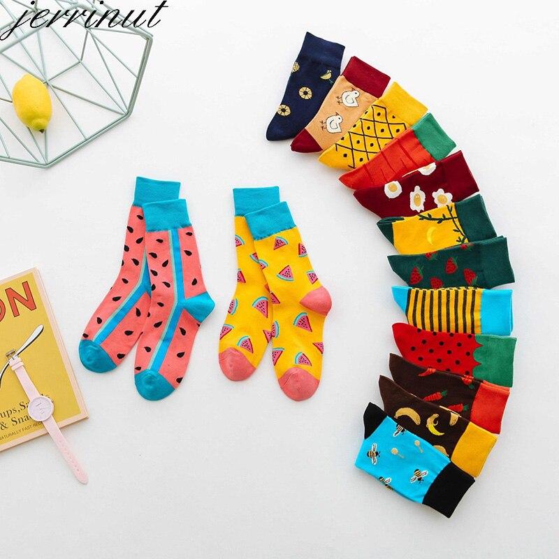 Теплые хлопковые женские забавные носки с принтом, милые Цветные Носки Happy, модные осенне-зимние носки высокого качества в стиле Харадзюку, 1...