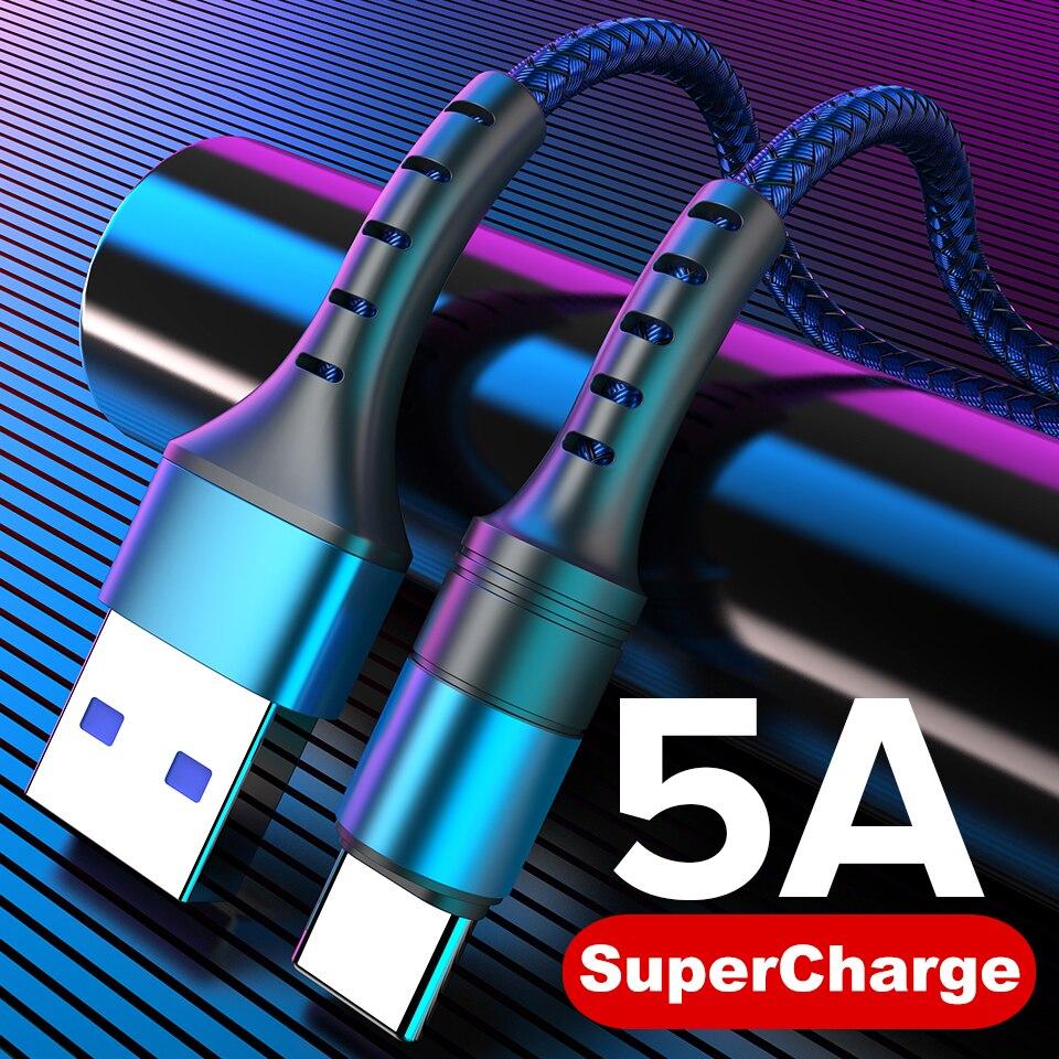 كابل USB نوع C 5A 0.25 متر 1 متر 2 متر شحن سريع من النوع C Kable لهاتف P30 P20 Mate 20 Pro شحن فائق QC3.0 USBC Cabo