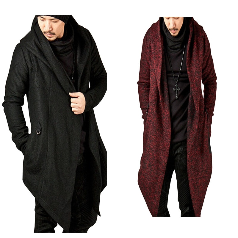 2020 spring and autumn men's windbreaker male hooded irregular hem cardigan jacket overcoat Single-breasted trench coat windcoat